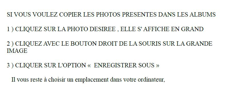 Mode d'EMPLOI pour COPIES DE PHOTOS
